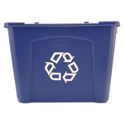 Rubbermaid Commercial Stacking Recycle Bin Rectangular Polyethylene 14gal Blue 571473BE