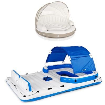 Intex Inflatable Canopy Island Float & Bestway Tropical Breeze 6 Person Float