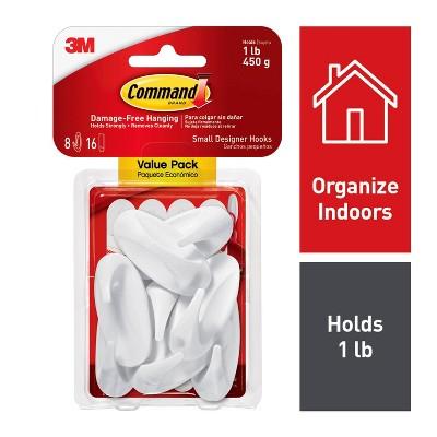 Command Small Sized Designer Hooks Value Pack (8 Small Hooks/16 Small Strips)White