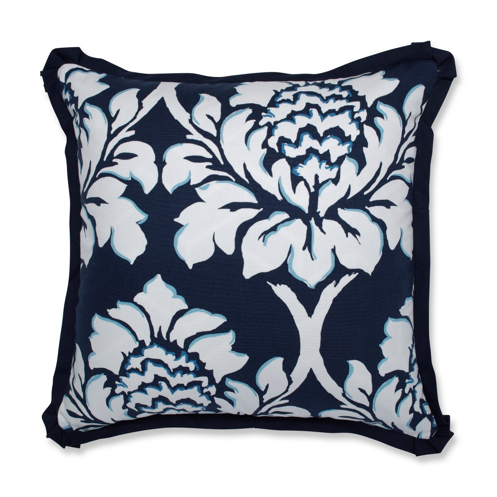 Palm Gardens Square Throw Pillow Blue - Pillow Perfect