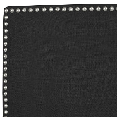 King Arcadia Nailbutton Headboard Linen Black with Pewter Nail Buttons - Skyline Furniture