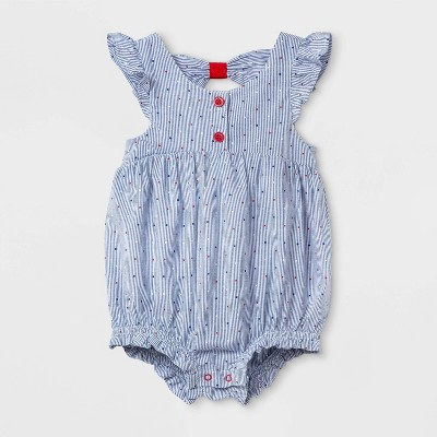 Baby Girls' Bow-Back Romper - Cat & Jack™ Blue 12M