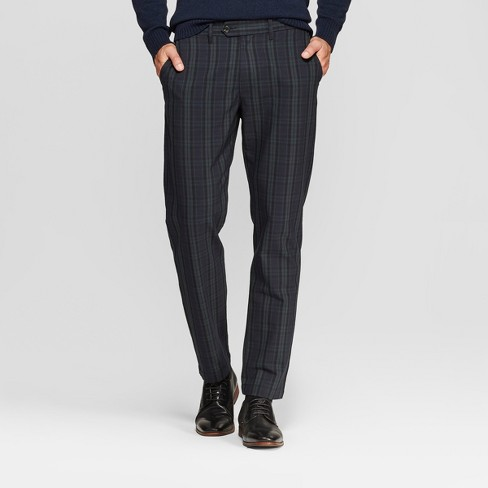 Men's Plaid Slim Fit Fashion Trousers - Goodfellow & Co™ Dark Green 32x30 - image 1 of 3