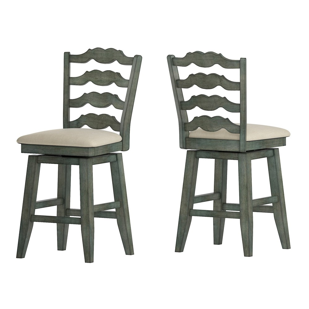 """Image of """"24"""""""" South Hill French Ladder Back Swivel Counter Height Chair Aqua - Inspire Q"""""""