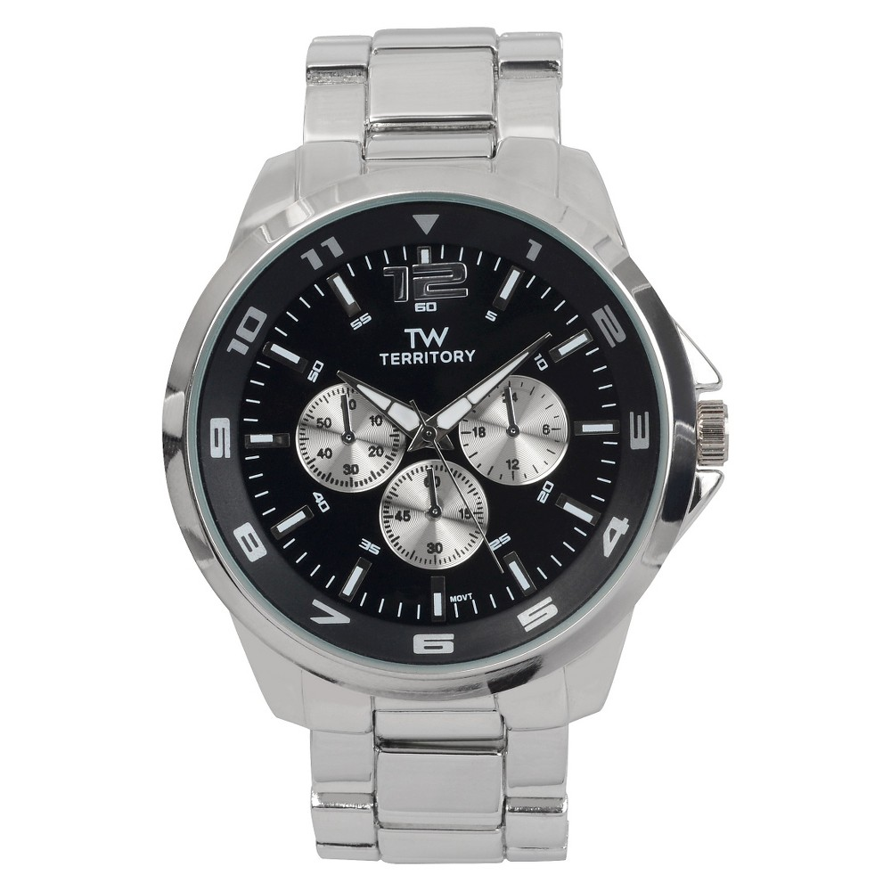 Men's Territory Oversized Round Face Metal Link Band Watch - Silver