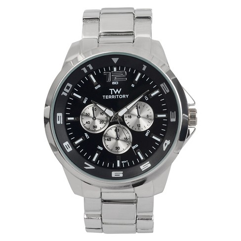 Men's Territory Oversized Round Face Metal Link Band Watch - image 1 of 4