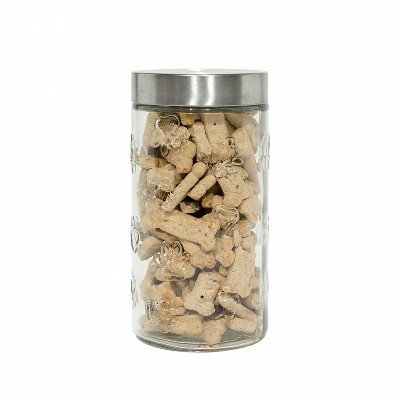Amici Pet Marble Paw Glass Food Canister, Large, 72oz