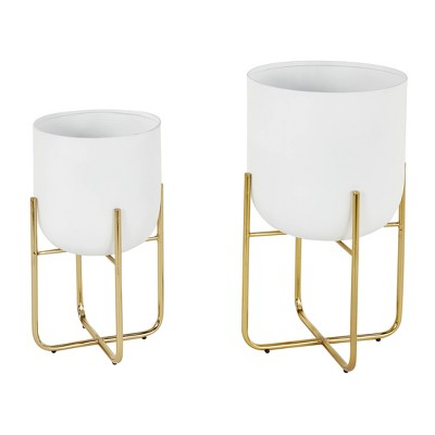 Set of 2 Contemporary Metal Planters in Stands - Olivia & May