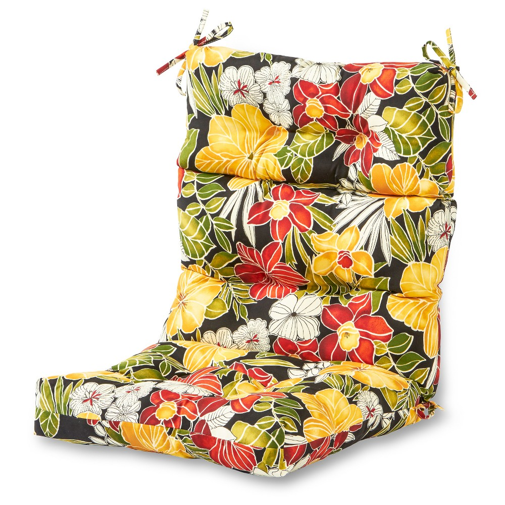 Image of Aloha Black Floral Outdoor High Back Chair Cushion - Kensington Garden
