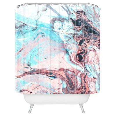 Splatter Marble Shower Curtain Blue - Deny Designs®