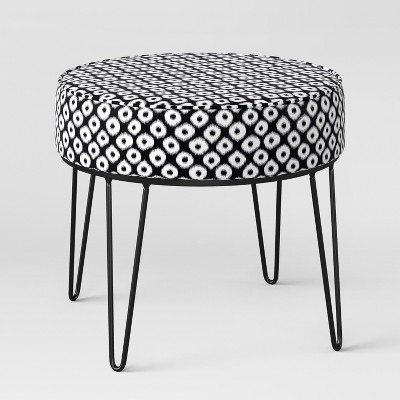 Carman Round Ottoman with Hairpin Legs Black/White Ikat - Project 62™