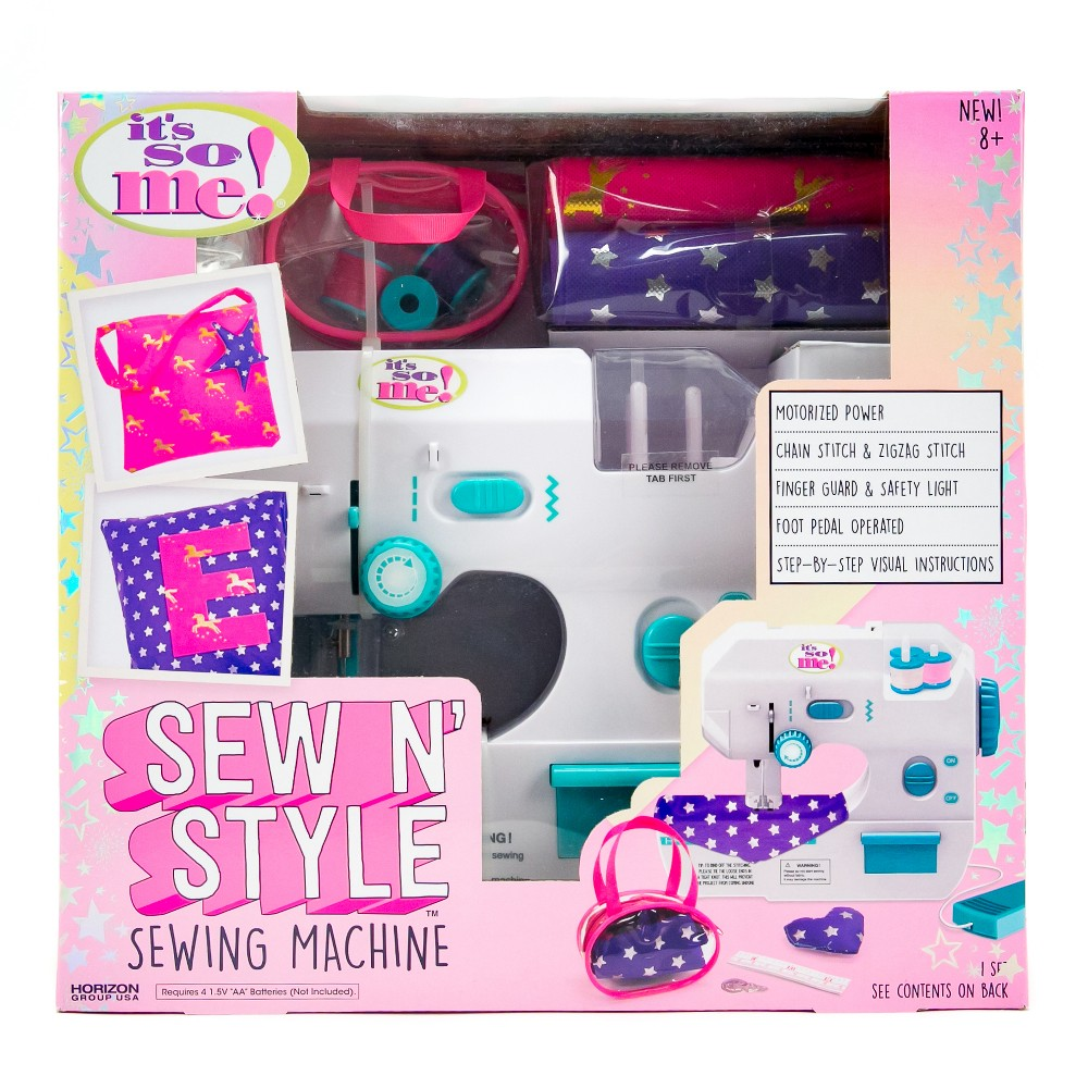 It's So Me! Sew n' Style Sewing Machine Create a purse, pillow and more with the It's So Me! Sew N' Style kit. Learn how to use a sewing machine and create accessories for you or your friends. This motorized sewing machine will bring out your inner designer as you learn different sewing techniques that can last a lifetime. Additional decorative templates can be found online! This sewing kit includes a sewing machine, thread, threader, patterned fabric, carrying case, measuring tape, and an easy-to-follow instruction guide.