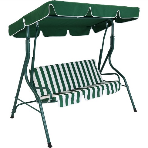 2 Person Steel Frame Porch Swing With Adjustable Canopy Green