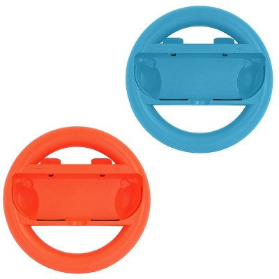 Gamefitz Nintendo Switch 2 Piece Joy-Con Steering Wheel Grip Set in Red and Blue