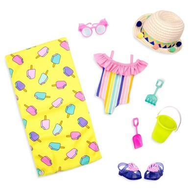 """Glitter Girls Beach Day Rays Rainbow Swimsuit Outfit & Accessories for 14"""" Dolls"""