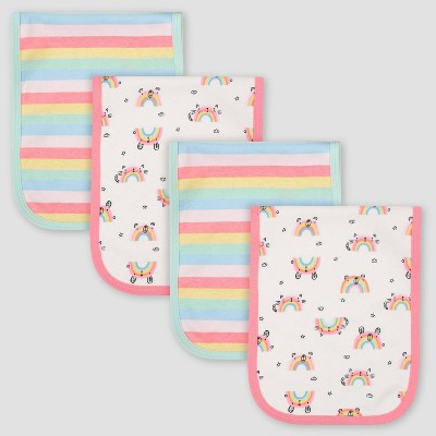 Gerber Baby Girls' 4pk Rainbow Print Interlock and Terry Burp Cloth Set - Pink