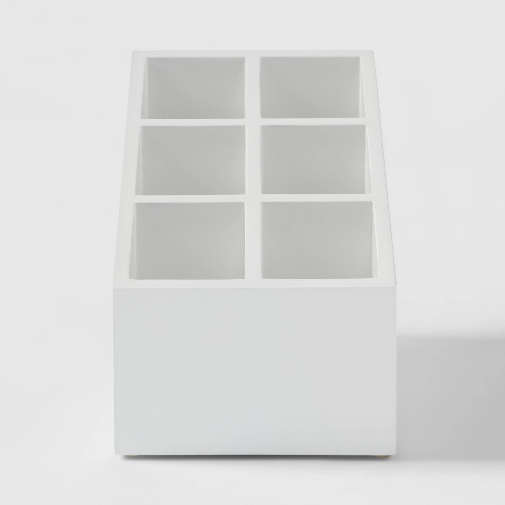 Image of 6 Compartment MDF Vanity Organizer With Magnets White - Threshold