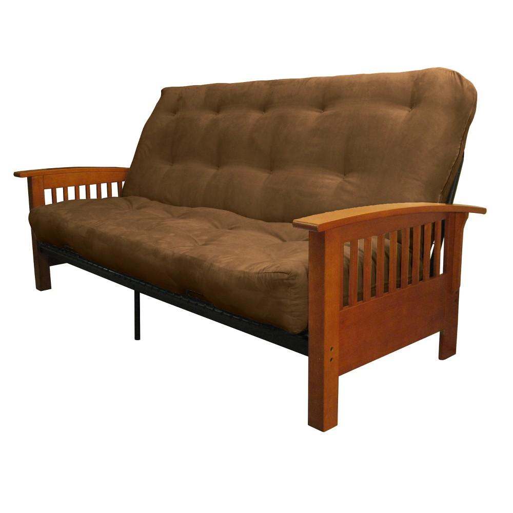 8 Craftsman Cotton/Foam Futon Sofa Sleeper Medium Oak Wood Finish Espresso Brown - Epic Furnishings