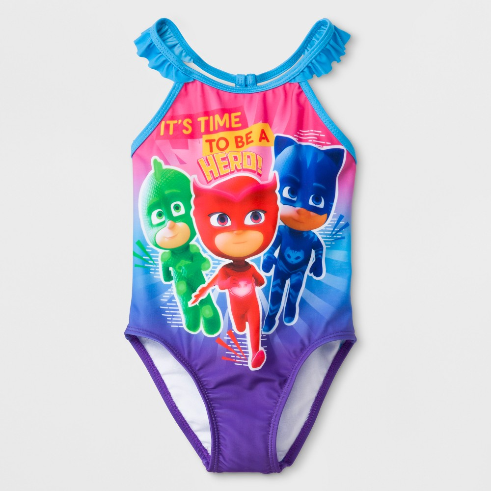 Toddler Girls PJ Masks One Piece Swimsuit - Blue/Purple 2T, Multicolored