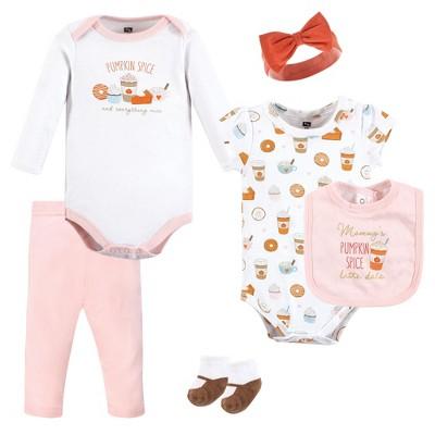 Hudson Baby Infant Girl Cotton Layette Set, Pumpkin Spice Date