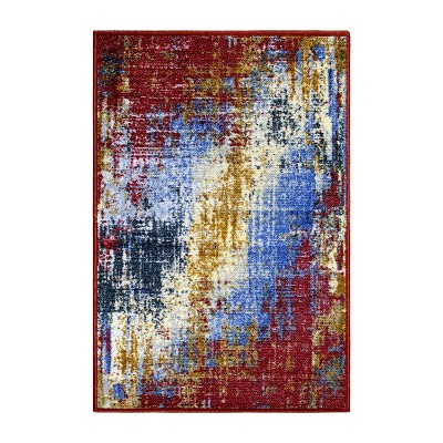 Abstract Modern Non-Slip Indoor Washable Area Rug or Runner by Blue Nile Mills