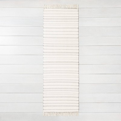 "2'4"" x 7' Stripe with Fringe Runner Gray - Hearth & Hand™ with Magnolia"