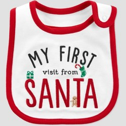 Baby 'My First Visit From Santa' Christmas Bib - Just One You® made by carter's White