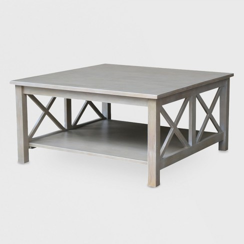 Hampton Square Coffee Table Washed Gray Taupe International Concepts