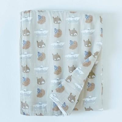 Patina Vie Muslin Quilt Blanket - Woodland Friends