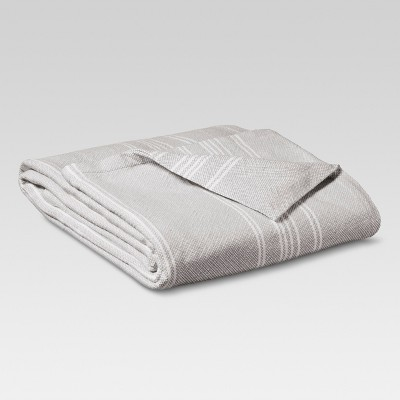 Yarn Dye Stripe Ringspun Cotton Blanket - Gray (King)- Threshold™