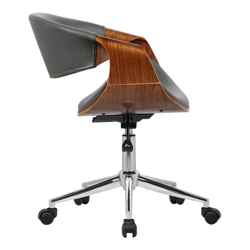 a93362d260 Geneva Mid-Century Office Chair in Chrome finish with Faux Leather and  Walnut Veneer Arms - Armen Living