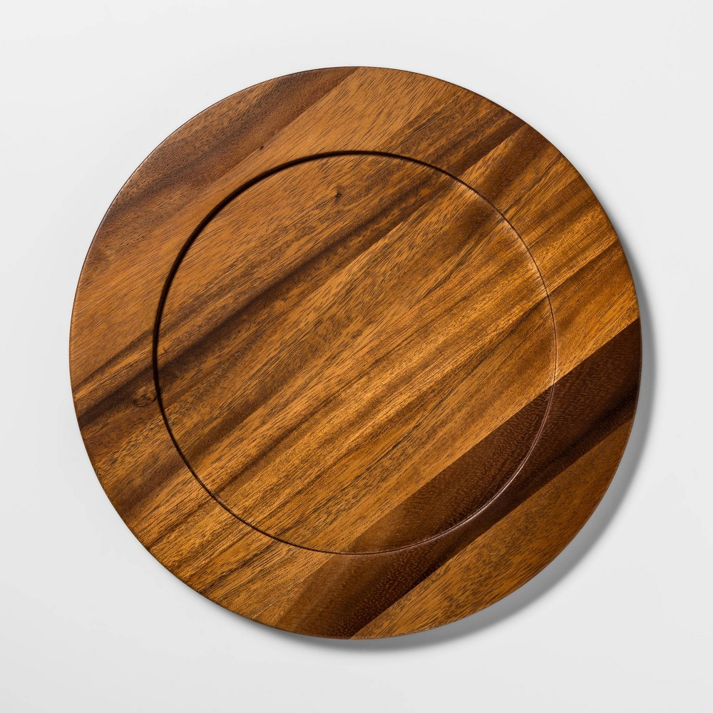 "Image of ""13"""" Acacia Wood Decorative Charger - Threshold , Brown"""