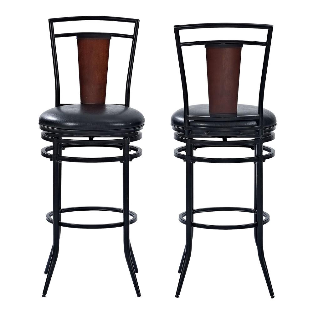 Soho Swivel Bar Stool Black with Black Cushion - Crosley