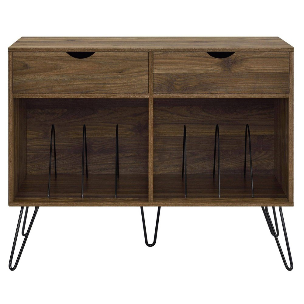 Image of Concord Turntable Stand with Drawers Walnut - Novogratz