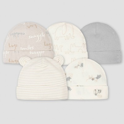 Gerber Baby 5pk Safari Caps - Gray