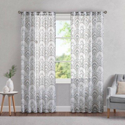 Deja Printed Burnout Sheer Panel Curtain