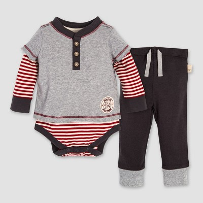 Burt's Bees Baby® Boys' Organic Cotton Candy Cane Stripe 2Fer Bodysuit & Pants Set - Heather Gray 0-3M