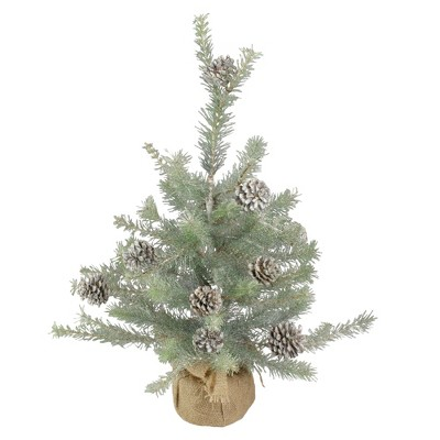 Napa Home & Garden 2' Unlit Artificial Christmas Tree Vintage Glitter Pine with Burlap Base