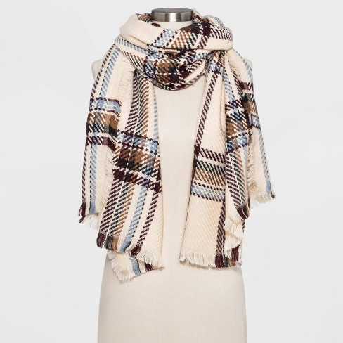Women's Woven Plaid Oblong Scarf - Universal Thread™ Cream One Size - image 1 of 2