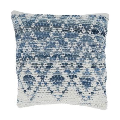 "18""x18"" Diamond Design Chindi Square Pillow Cover Blue - Saro Lifestyle"