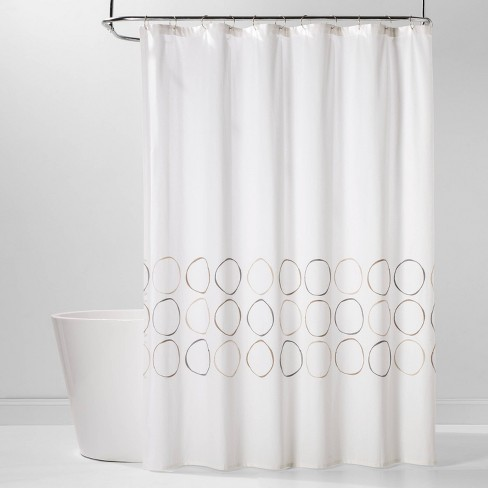 Embroidered Organic Circles Shower Curtain White - Project 62™ - image 1 of 2