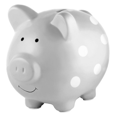 Pearhead Ceramic Piggy Bank - Gray with White Polka Dots