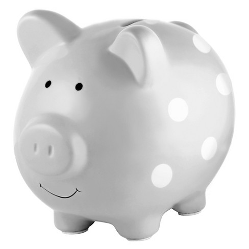 Pearhead Ceramic Piggy Bank - Gray with White Polka Dots - image 1 of 4