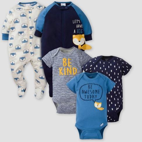 Gerber Baby Boys' 5pk Fox Short Sleeve Onesies and Sleep N' Play - Blue/White - image 1 of 3
