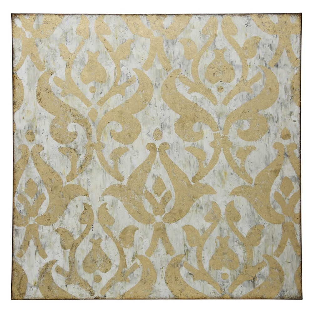 40 Damask Hand Painted with Foil Application Stretched Canvas Decorative Wall Art - StyleCraft, Multi-Colored