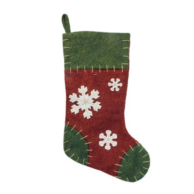 """Northlight 20"""" Green and Red Snowflake Applique Christmas Stocking with Blanket Stitching"""