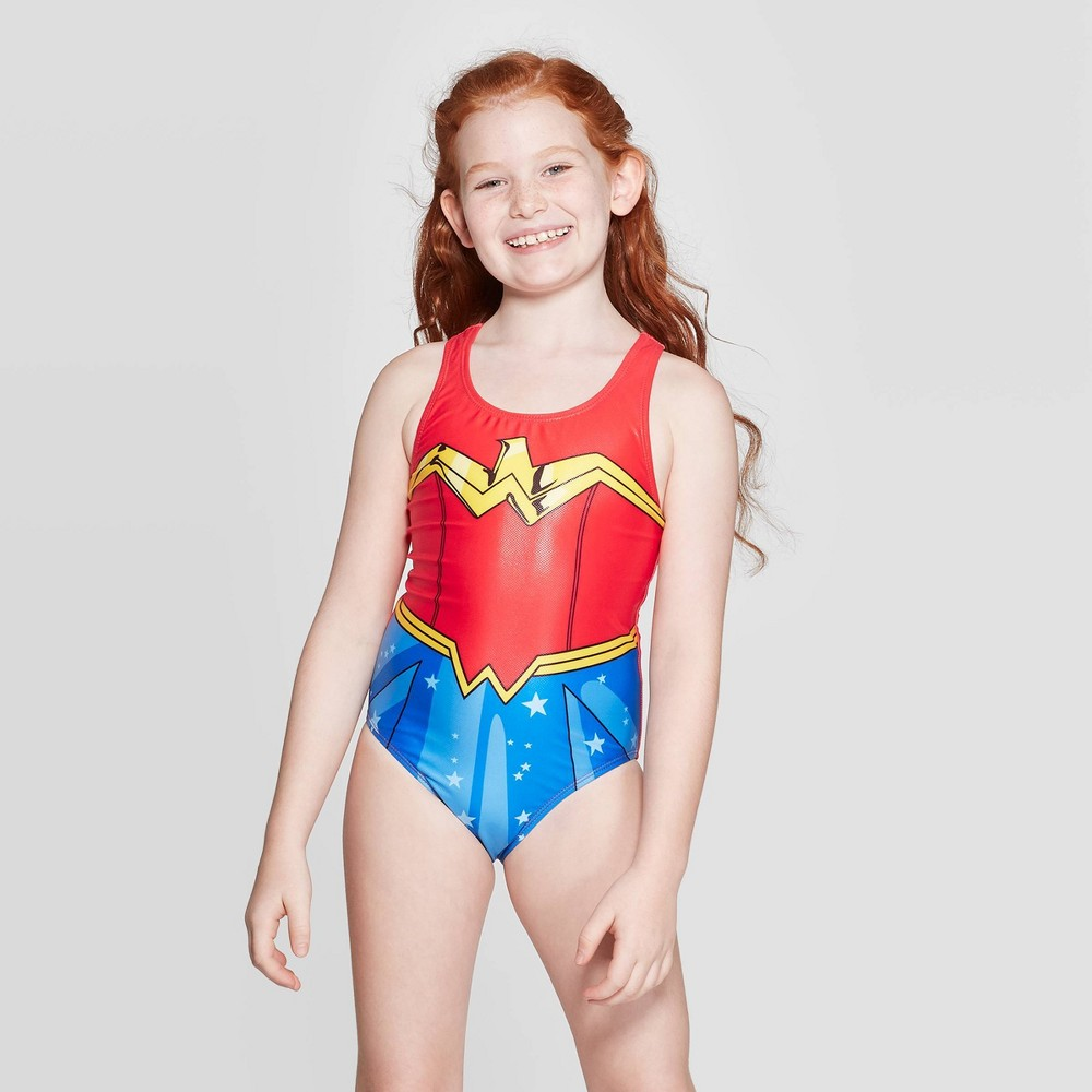 Image of Girls' Wonder Woman One Piece Swim Suit - Red L, Girl's, Size: Large, Blue