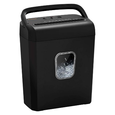 Bonsaii C234-A Portable 6 Sheet Cross Cut Paper, Card, and Disc Shredder Bin with Handles, and Large 3.5 Gallon Capacity Wastebasket, Black