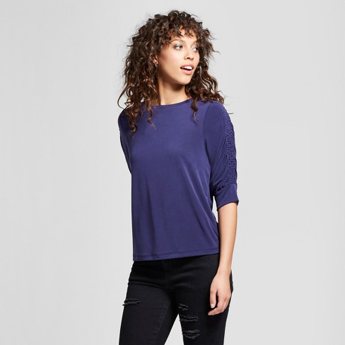 d86fa5858 Women's 3/4 Shirred Sleeve Top - Mossimo™ Blue XL : Target