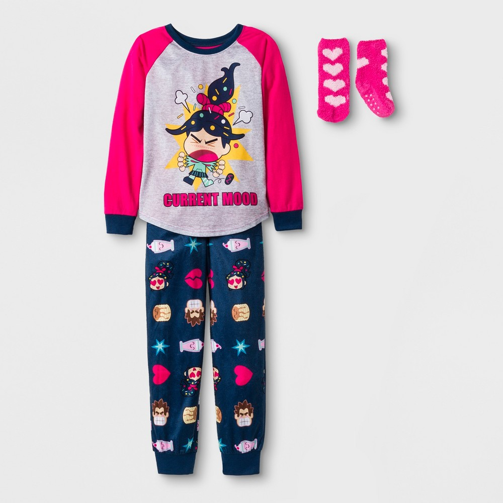 Girls' Wreck-It Ralph 2pc Pajama Set with Sock - Pink/Navy L